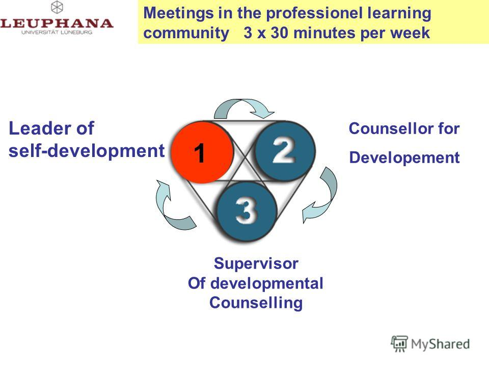 Leader of self-development Counsellor for Developement Supervisor Of developmental Counselling 1 Meetings in the professionel learning community 3 x 30 minutes per week