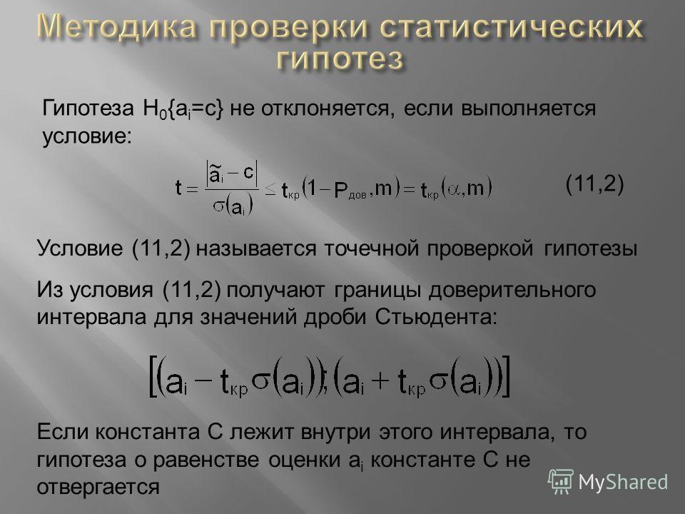 Гипотеза Н 0 {a i =c} не отклоняется, если выполняется условие: (11,2) Условие (11,2) называется точечной проверкой гипотезы Из условия (11,2) получают границы доверительного интервала для значений дроби Стьюдента: Если константа C лежит внутри этого
