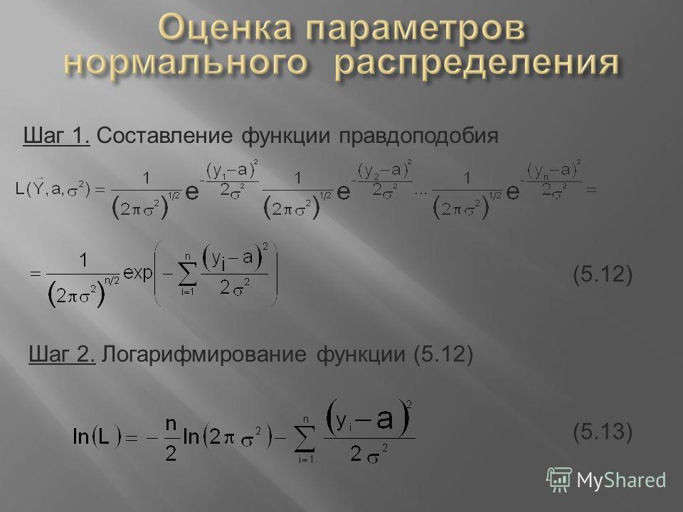 Шаг 1. Составление функции правдоподобия (5.12) Шаг 2. Логарифмирование функции (5.12) (5.13)