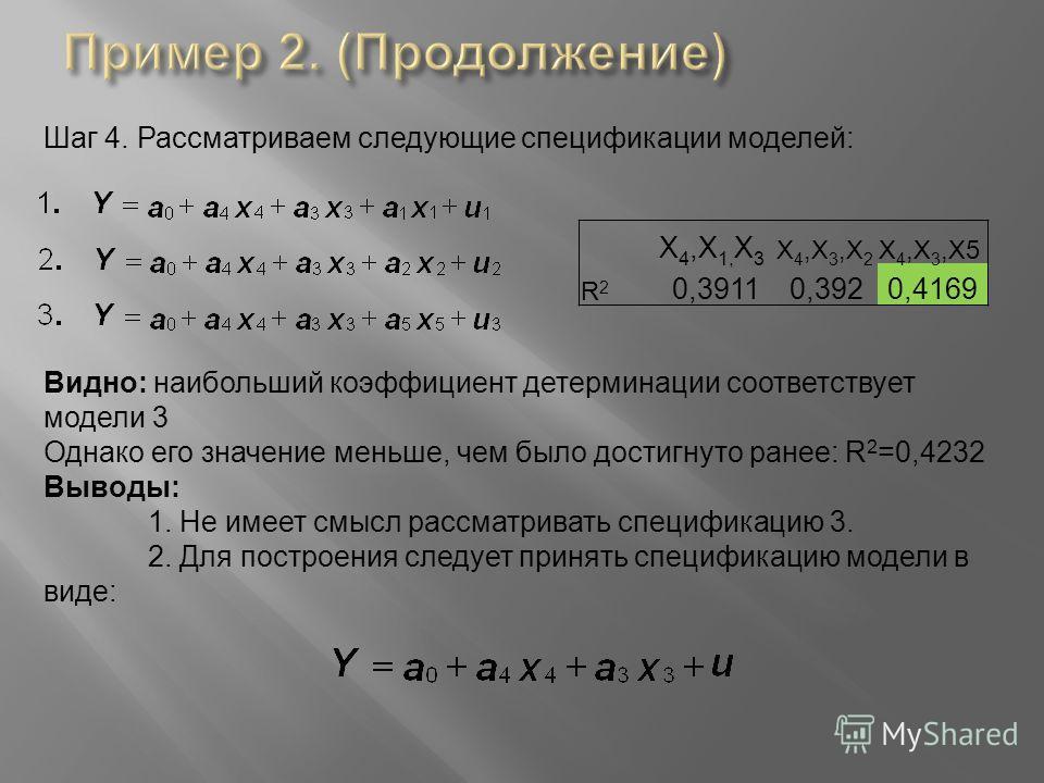 Шаг 4. Рассматриваем следующие спецификации моделей: X 4,X 1, X 3 X 4,X 3,X 2 X 4,X 3,X5 R2R2 0,39110,3920,4169 Видно: наибольший коэффициент детерминации соответствует модели 3 Однако его значение меньше, чем было достигнуто ранее: R 2 =0,4232 Вывод