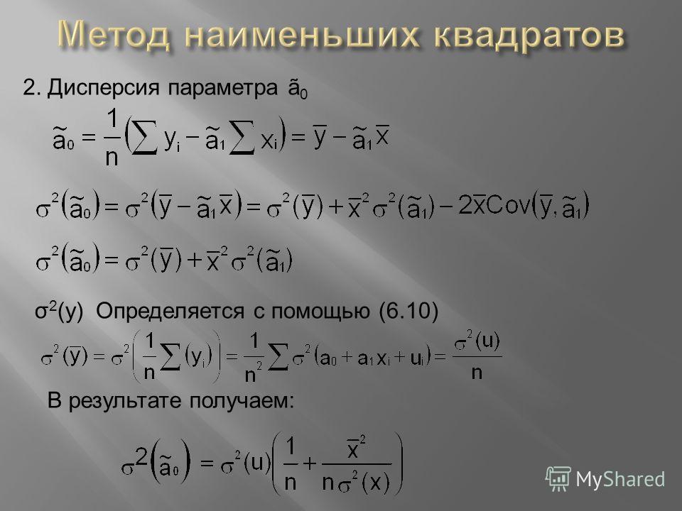 2. Дисперсия параметра ã 0 σ 2 (y) Определяется с помощью (6.10) В результате получаем: