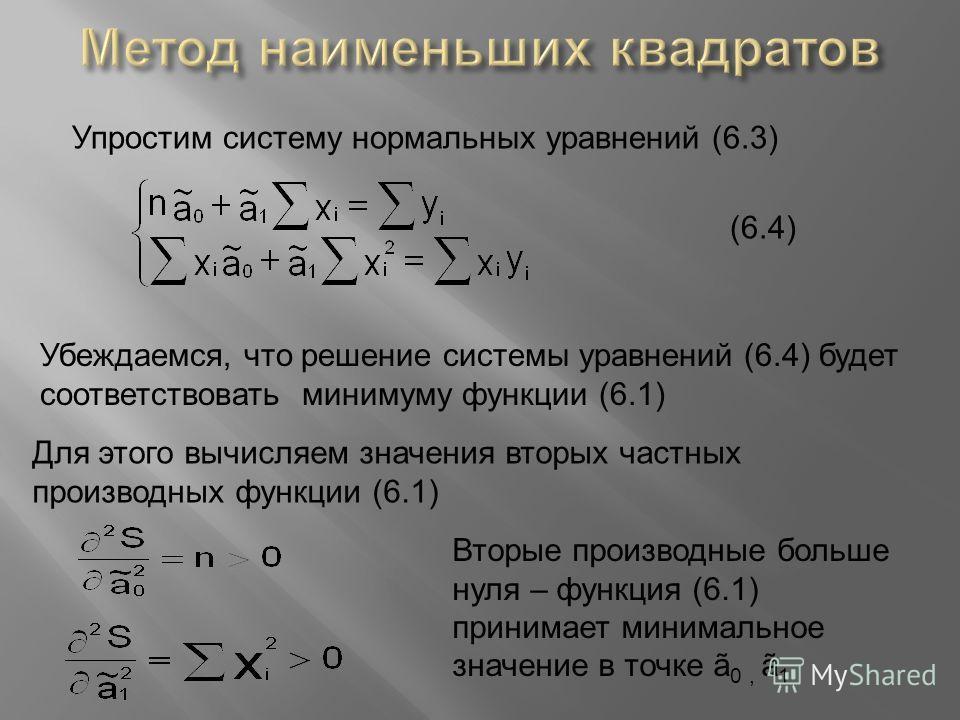Упростим систему нормальных уравнений (6.3) (6.4) Убеждаемся, что решение системы уравнений (6.4) будет соответствовать минимуму функции (6.1) Для этого вычисляем значения вторых частных производных функции (6.1) Вторые производные больше нуля – функ