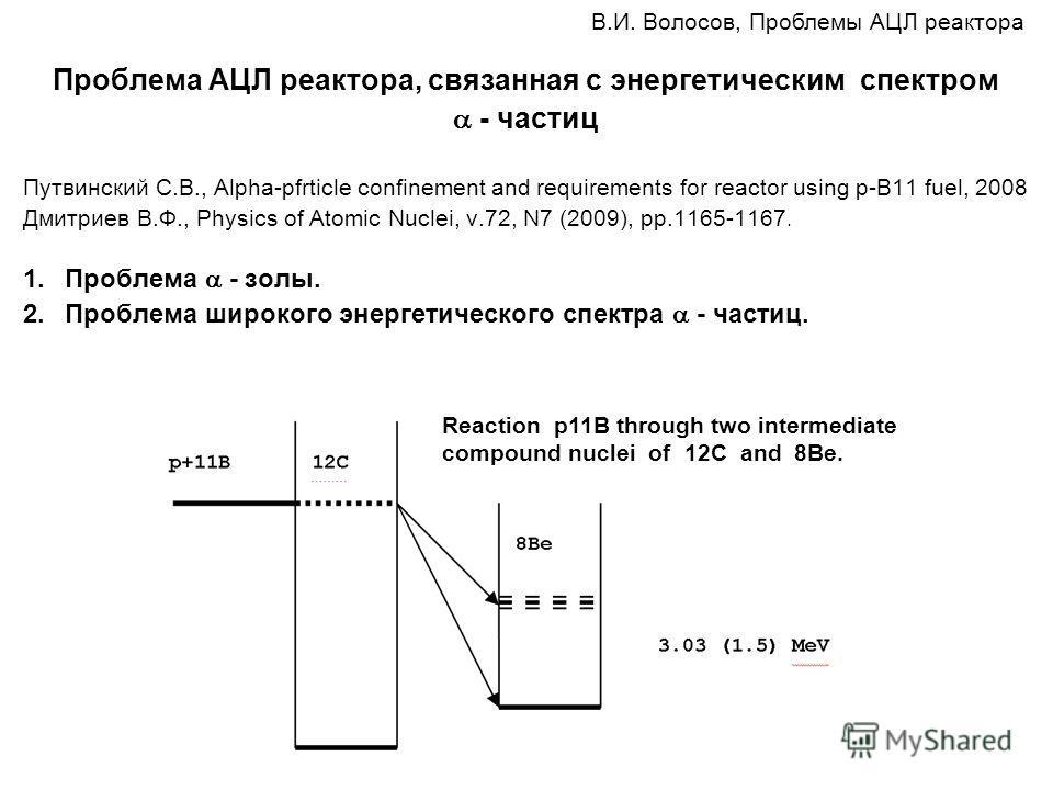 Проблема АЦЛ реактора, связанная с энергетическим спектром - частиц Путвинский С.В., Alpha-pfrticle confinement and requirements for reactor using p-B11 fuel, 2008 Дмитриев В.Ф., Physics of Atomic Nuclei, v.72, N7 (2009), pp.1165-1167. 1.Проблема - з