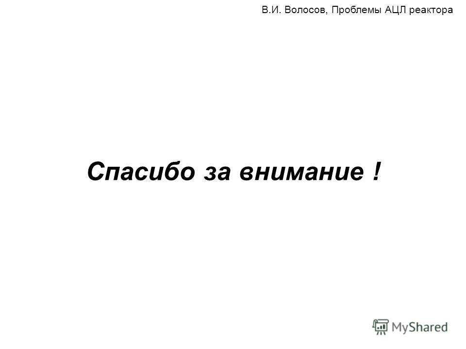Спасибо за внимание ! В.И. Волосов, Проблемы АЦЛ реактора