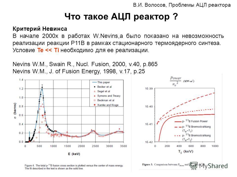В.И. Волосов, Проблемы АЦЛ реактора Что такое АЦЛ реактор ? Критерий Невинса В начале 2000х в работах W.Nevins,a было показано на невозможность реализации реакции P11B в рамках стационарного термоядерного синтеза. Условие Te