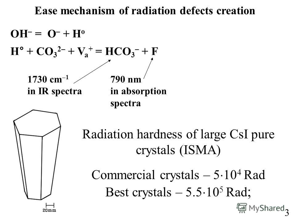 3 Ease mechanism of radiation defects creation OH – = O – + H o H° + CO 3 2– + V a + = HCO 3 – + F 1730 cm –1 in IR spectra 790 nm in absorption spectra Radiation hardness of large CsI pure crystals (ISMA) Commercial crystals – 5 10 4 Rad Best crysta
