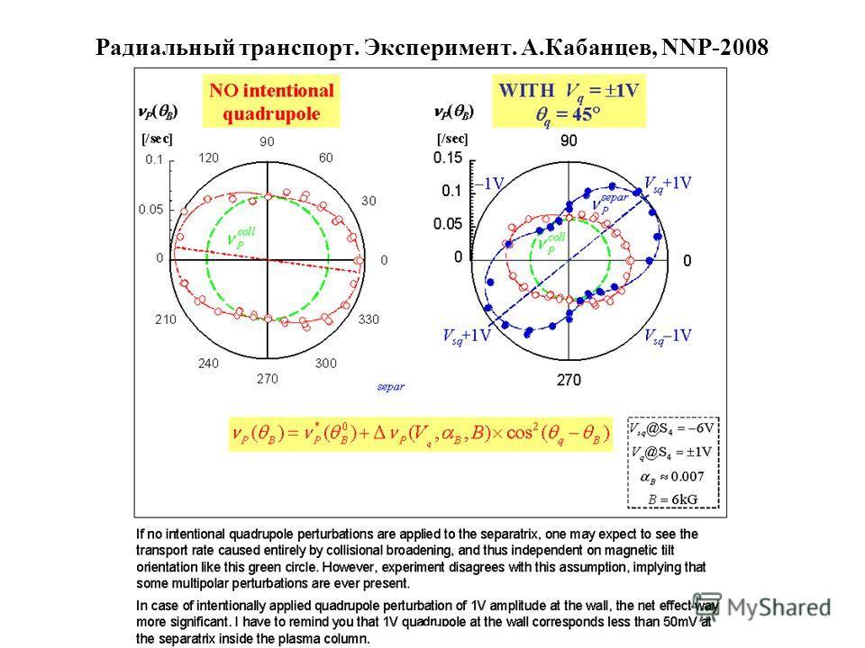 Радиальный транспорт. Эксперимент. A.Кабанцев, NNP-2008