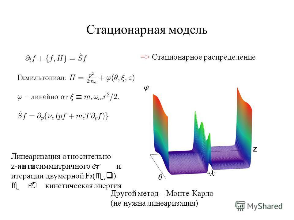 Стационарная модель => Стационарное распределение Линеаризация относительно z-антисиммитричного j и итерации двумерной F a ( e, q ) e - кинетическая энергия Другой метод – Монте-Карло (не нужна линеаризация)