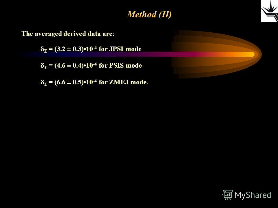 Method (II) The averaged derived data are: E = (3.2 ± 0.3)10 -4 for JPSI mode E = (4.6 ± 0.4)10 -4 for PSIS mode E = (6.6 ± 0.5)10 -4 for ZMEJ mode.