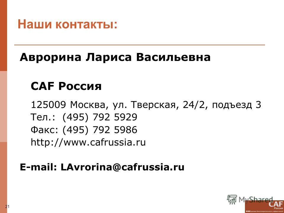 21 Наши контакты: Аврорина Лариса Васильевна CAF Россия 125009 Москва, ул. Тверская, 24/2, подъезд 3 Тел.: (495) 792 5929 Факс: (495) 792 5986 http://www.cafrussia.ru E-mail: LAvrorina@cafrussia.ru