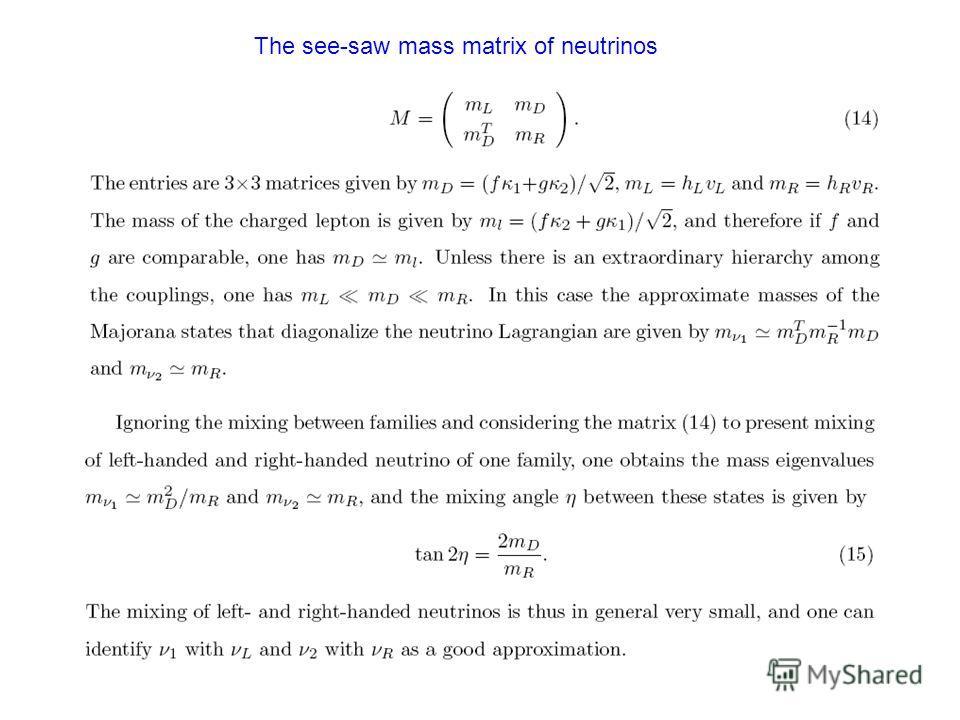 The see-saw mass matrix of neutrinos