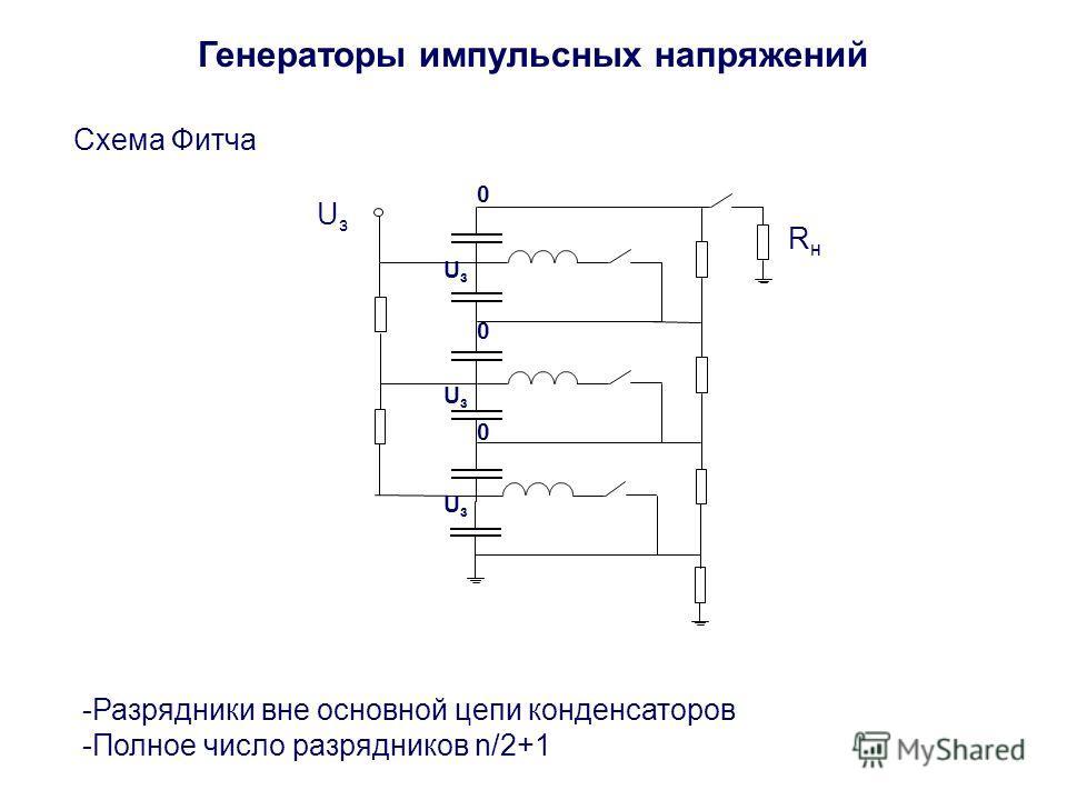 Генераторы импульсных напряжений Схема Фитча -Разрядники вне основной цепи конденсаторов -Полное число разрядников n/2+1 UзUз RнRн UзUз UзUз UзUз 0 0 0