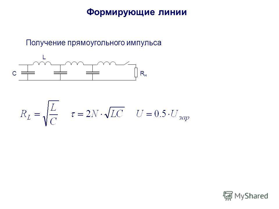 Формирующие линии Получение прямоугольного импульса C L RнRн
