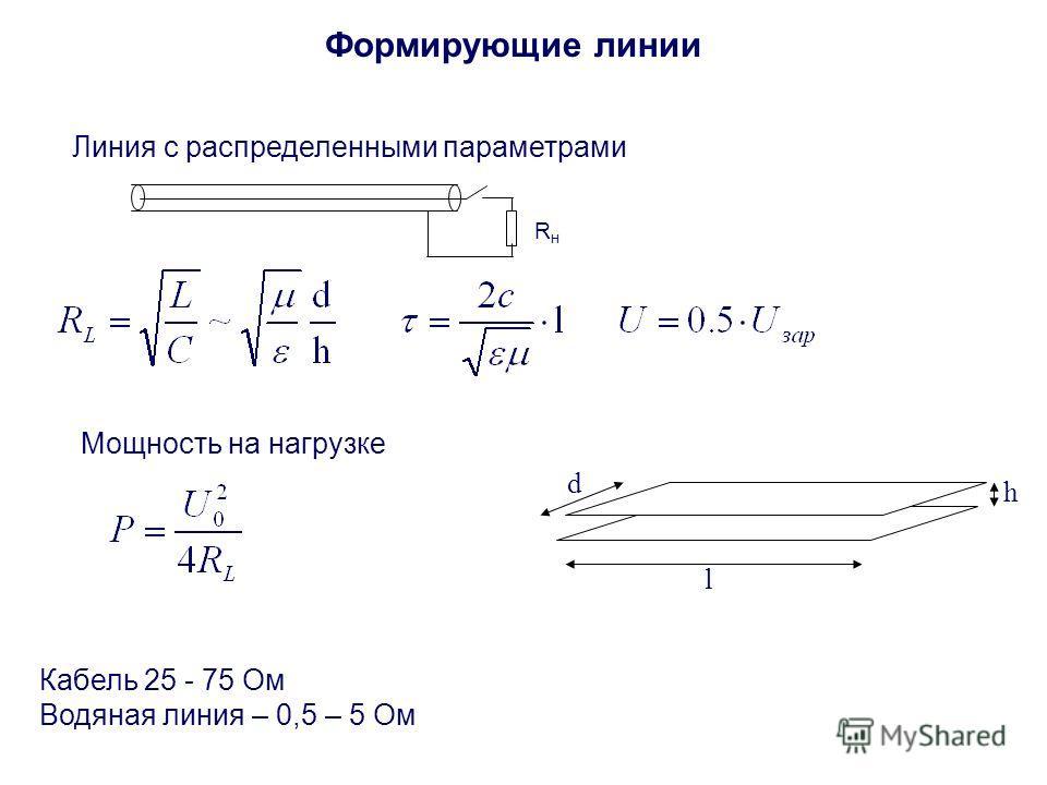Формирующие линии Линия с распределенными параметрами RнRн Мощность на нагрузке l d h Кабель 25 - 75 Ом Водяная линия – 0,5 – 5 Ом