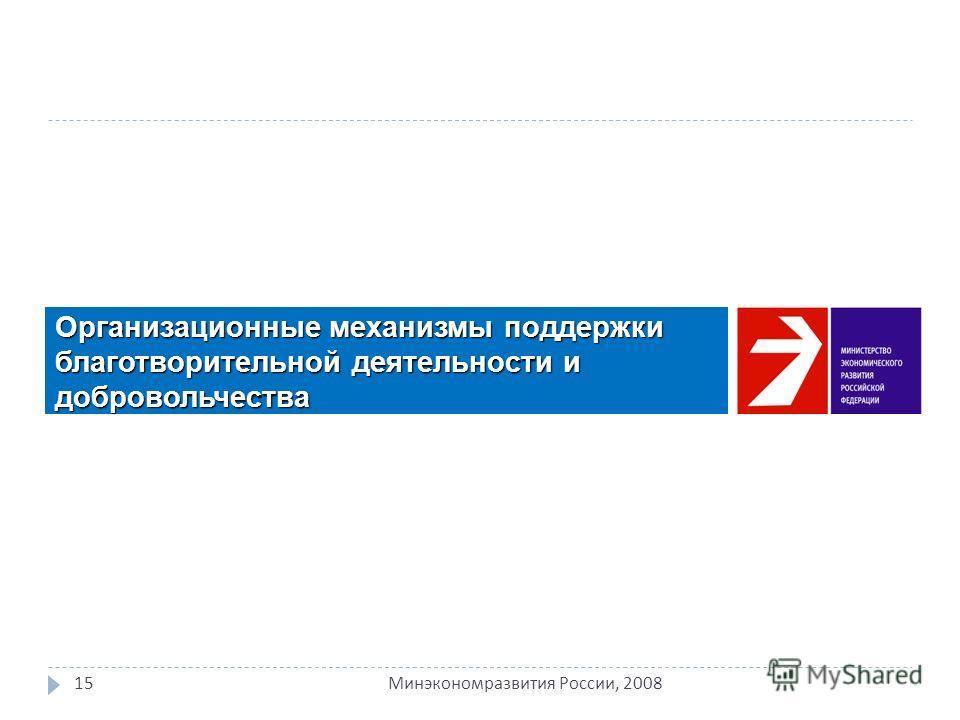 Организационные механизмы поддержки благотворительной деятельности и добровольчества 15 Минэкономразвития России, 2008