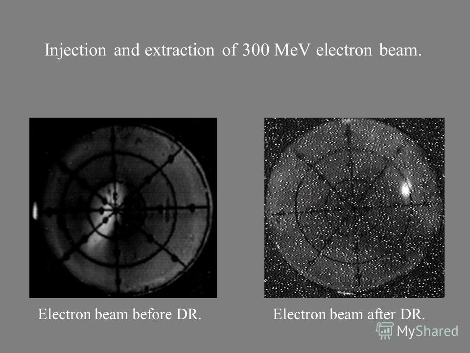 Injection and extraction of 300 MeV electron beam. Electron beam before DR.Electron beam after DR.