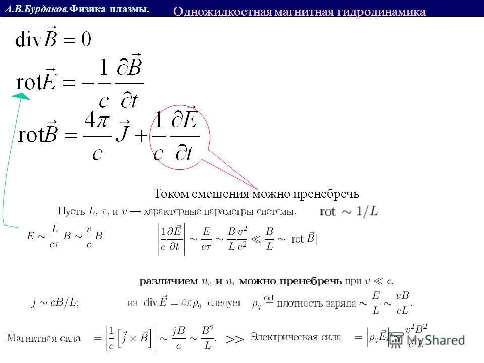 А.В.Бурдаков.Физика плазмы. Током смещения можно пренебречь >> Одножидкостная магнитная гидродинамика