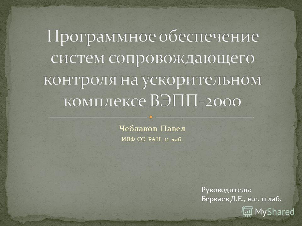 Чеблаков Павел ИЯФ СО РАН, 11 лаб. Руководитель: Беркаев Д.Е., н.с. 11 лаб.