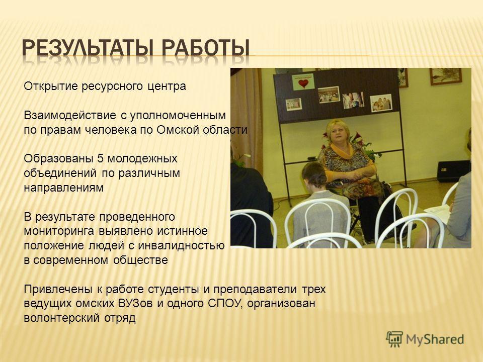 Открытие ресурсного центра Взаимодействие с уполномоченным по правам человека по Омской области Образованы 5 молодежных объединений по различным направлениям В результате проведенного мониторинга выявлено истинное положение людей с инвалидностью в со
