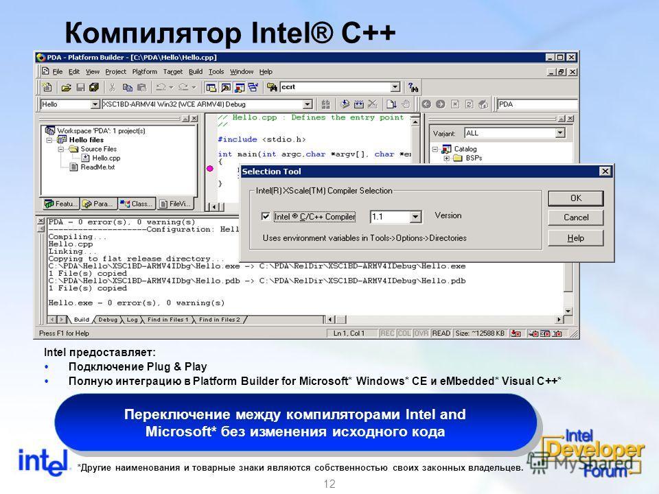 12 Компилятор Intel® C++ Intel предоставляет: Подключение Plug & Play Полную интеграцию в Platform Builder for Microsoft* Windows* CE и eMbedded* Visual C++* Переключение между компиляторами Intel and Microsoft* без изменения исходного кода *Другие н