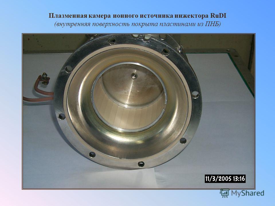 Плазменная камера ионного источника инжектора RuDI (внутренняя поверхность покрыта пластинами из ПНБ)