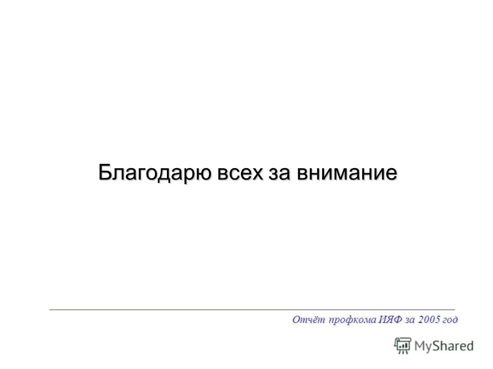 Отчёт профкома ИЯФ за 2005 год Благодарю всех за внимание