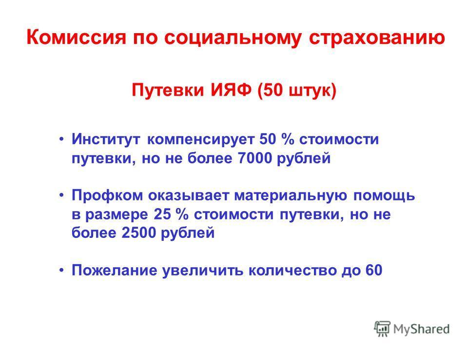 Путевки ИЯФ (50 штук) Институт компенсирует 50 % стоимости путевки, но не более 7000 рублей Профком оказывает материальную помощь в размере 25 % стоимости путевки, но не более 2500 рублей Пожелание увеличить количество до 60 Комиссия по социальному с