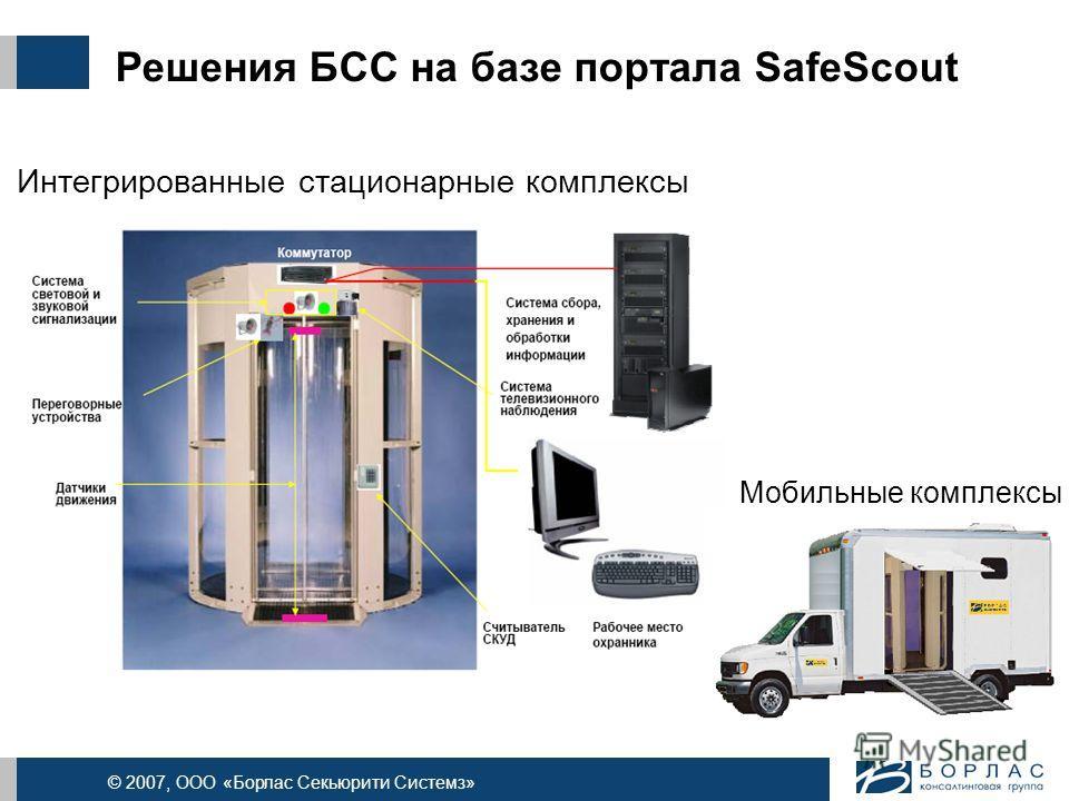© 2007, ООО «Борлас Секьюрити Системз» Решения БСС на базе портала SafeScout Интегрированные стационарные комплексы Мобильные комплексы