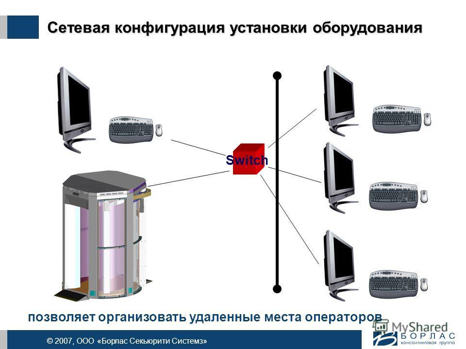© 2007, ООО «Борлас Секьюрити Системз» Сетевая конфигурация установки оборудования позволяет организовать удаленные места операторов Switch