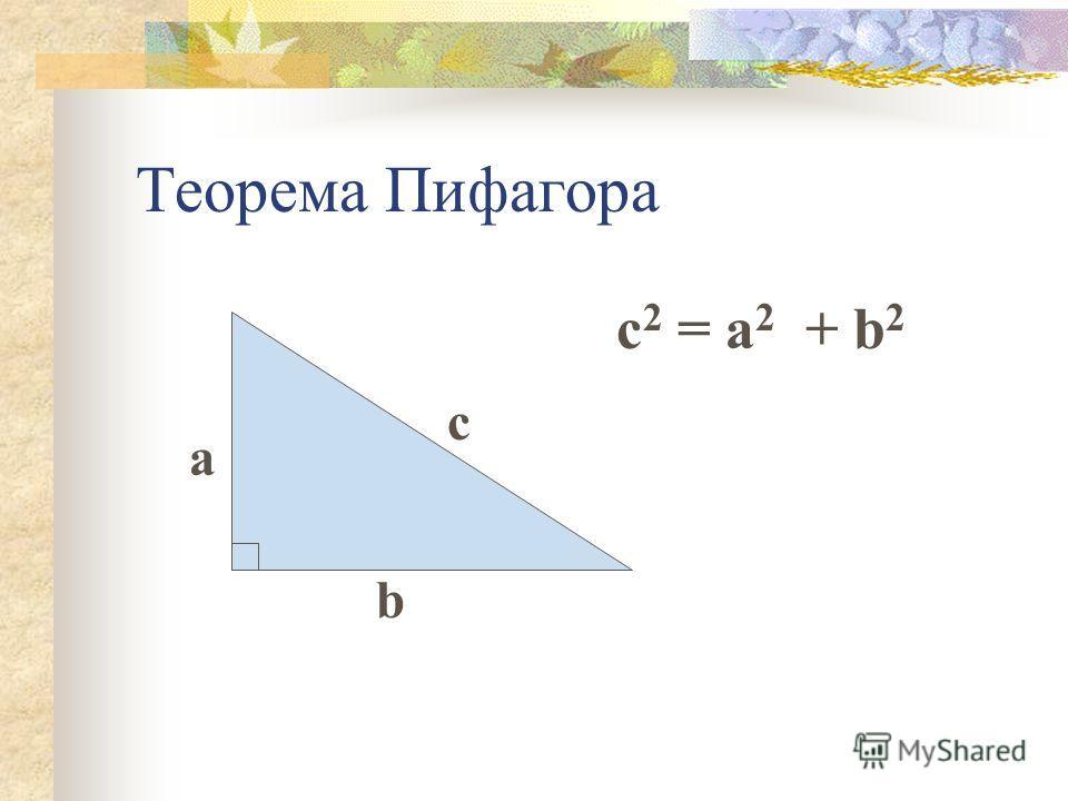 Теорема Пифагора с b a c 2 = a 2 + b 2