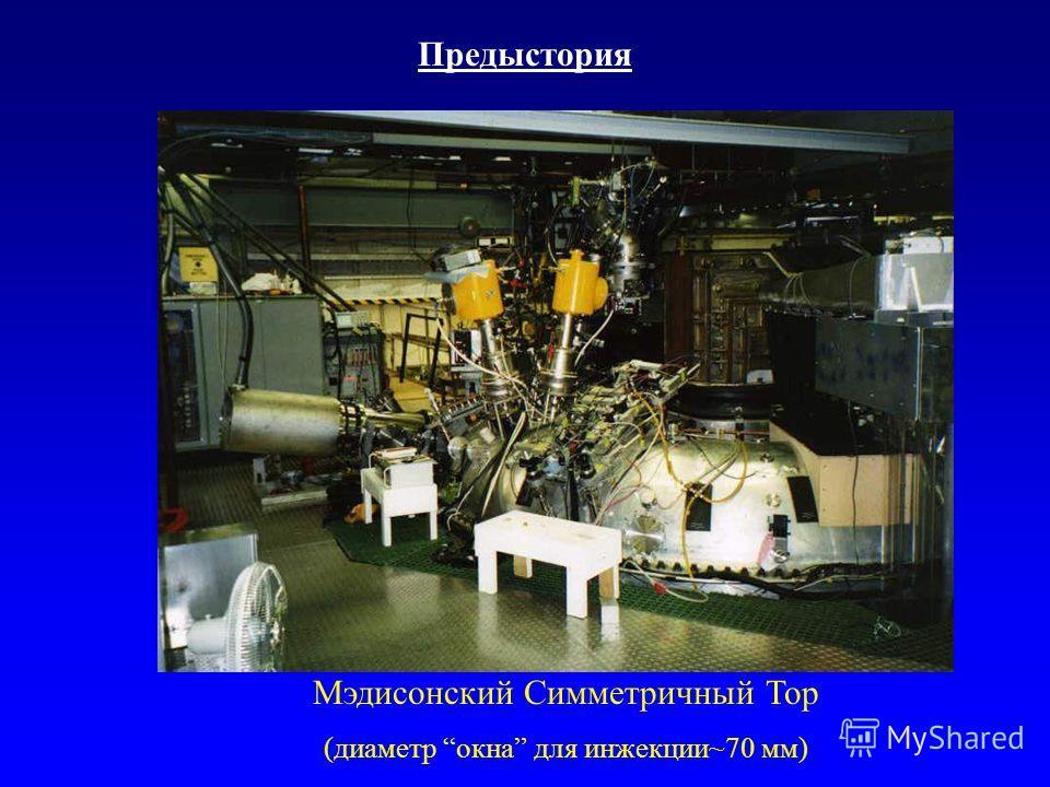 Предыстория Мэдисонский Симметричный Тор (диаметр окна для инжекции~70 мм)