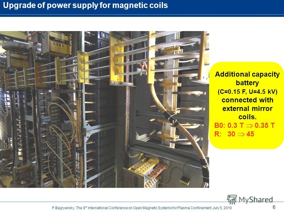 6 Upgrade of power supply for magnetic coils Additional capacity battery (C=0.15 F, U=4.5 kV) connected with external mirror coils. B0: 0.3 T 0.35 T R: 30 45 P.Bagryansky, The 8 th International Conference on Open Magnetic Systems for Plasma Confinem