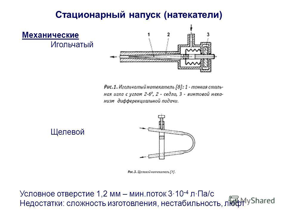 Стационарный напуск (натекатели) Механические Игольчатый Щелевой Условное отверстие 1,2 мм – мин.поток 3·10 -4 л·Па/c Недостатки: сложность изготовления, нестабильность, люфт