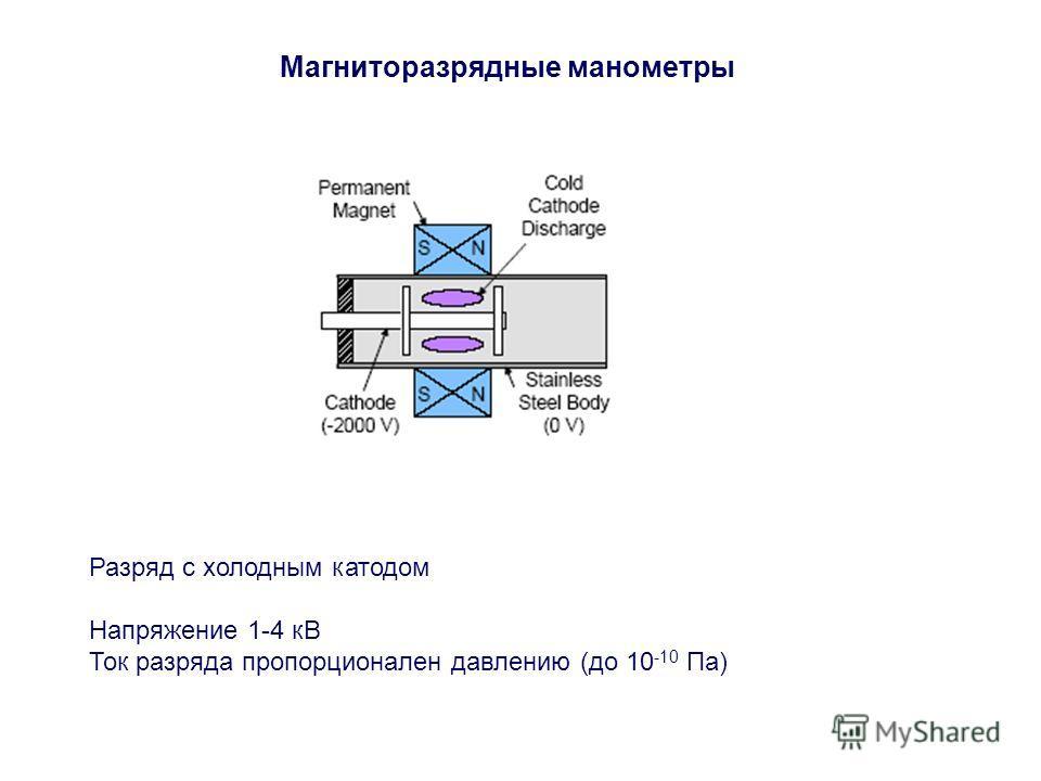 Магниторазрядные манометры Разряд с холодным катодом Напряжение 1-4 кВ Ток разряда пропорционален давлению (до 10 -10 Па)