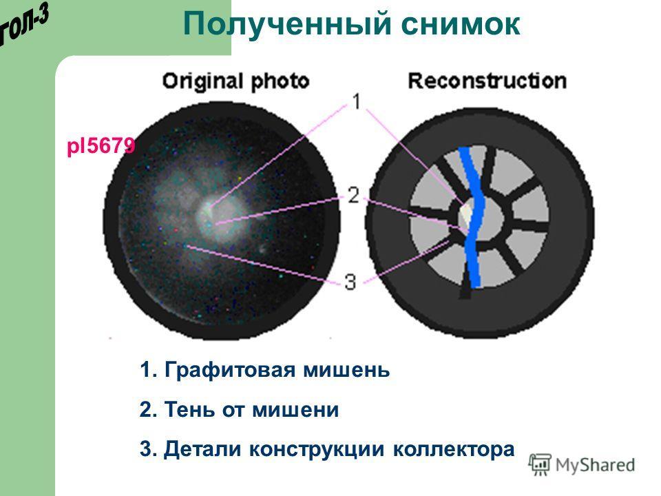 Полученный снимок 1.Графитовая мишень 2.Тень от мишени 3.Детали конструкции коллектора pl5679