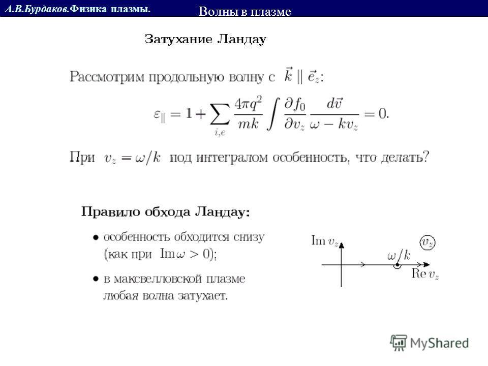 А.В.Бурдаков.Физика плазмы. z Разлет плазмы в вакуум Волны в плазме