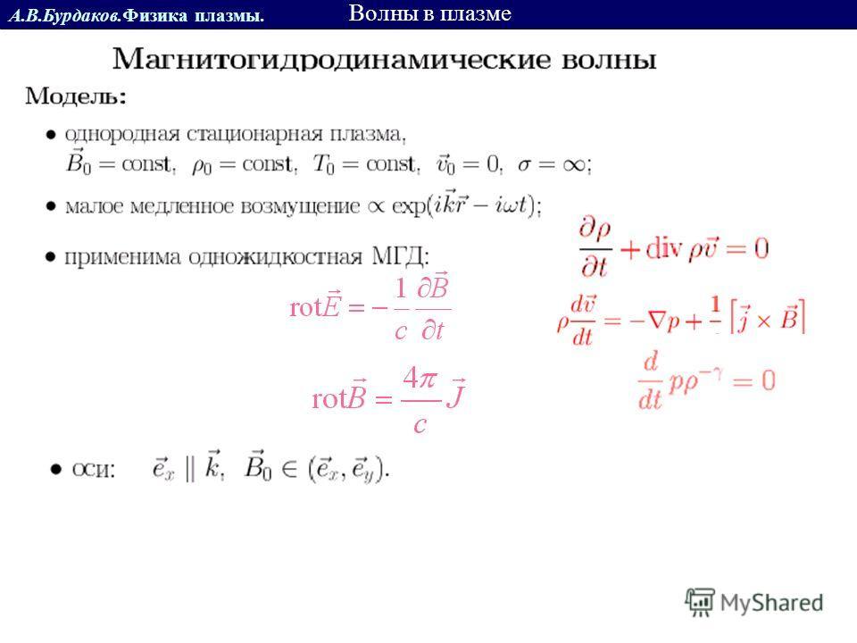 А.В.Бурдаков.Физика плазмы. Волны в плазме