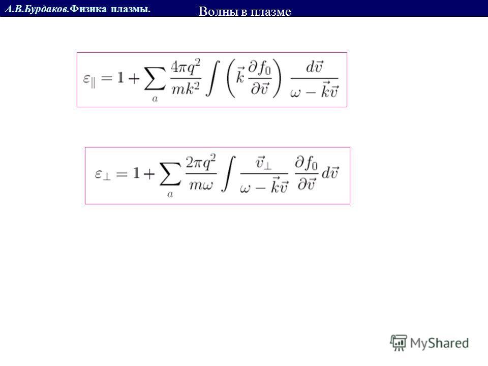 А.В.Бурдаков.Физика плазмы. Диэлектрическая проницаемость горячей плазмы Волны в плазме