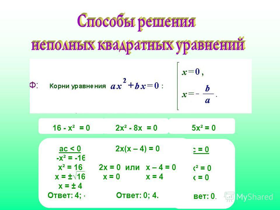 16 - х² = 0 5х² = 0 ас < 0 -х² = -16 х² = 16 х = ±16 х = ± 4 Ответ: 4; -4. с = 0 х² = 0 х = 0 Ответ: 0. 2х² - 8х = 0 2х(х – 4) = 0 2х = 0 или х – 4 = 0 х = 0 х = 4 Ответ: 0; 4.