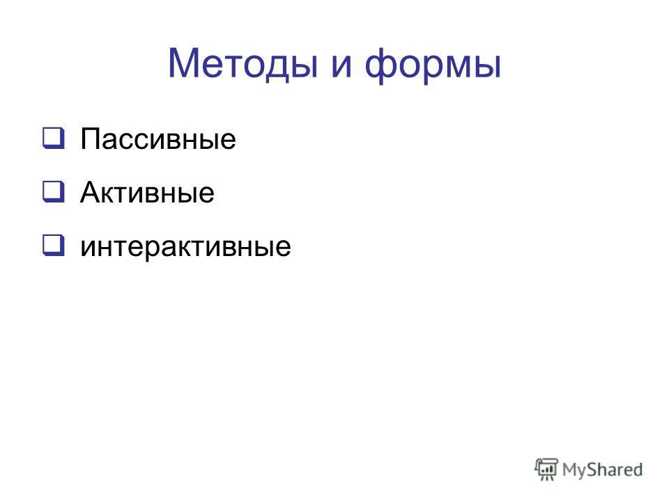 Методы и формы Пассивные Активные интерактивные