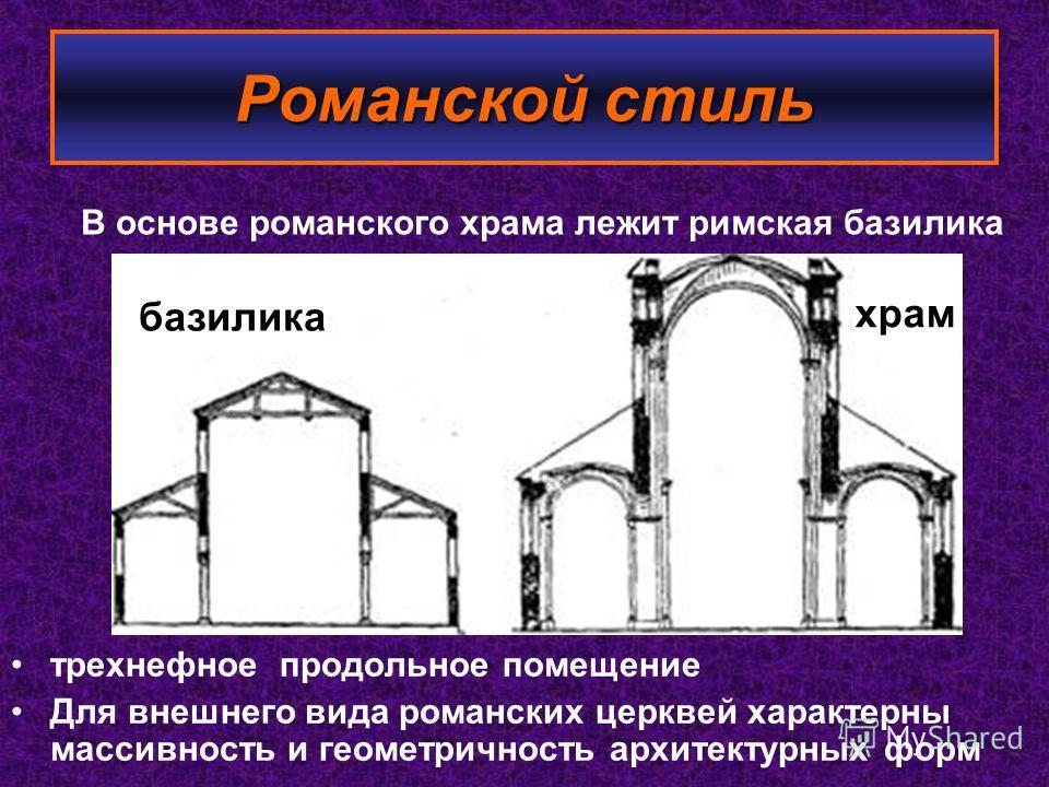 трехнефное продольное помещение Для внешнего вида романских церквей характерны массивность и геометричность архитектурных форм В основе романского храма лежит римская базилика базилика храм