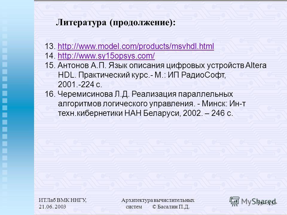 ИТЛаб ВМК ННГУ, 21.06. 2003 Архитектура вычислительных систем © Басалин П.Д. 15- Литература (продолжение): 13. http://www.model.com/products/msvhdl.htmlhttp://www.model.com/products/msvhdl.html 14. http://www.sy15opsys.com/http://www.sy15opsys.com/ 1