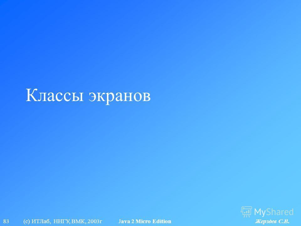 83 (с) ИТЛаб, ННГУ, ВМК, 2003г Java 2 Micro Edition Жерздев С.В. Классы экранов