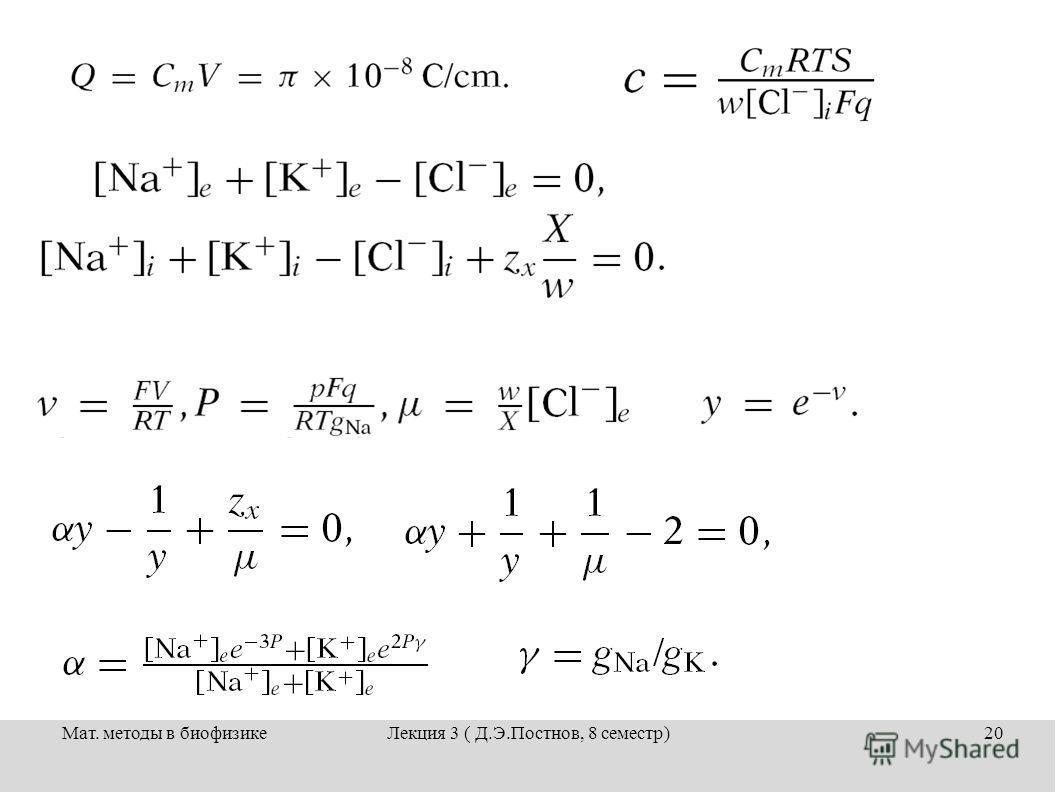 Мат. методы в биофизикеЛекция 3 ( Д.Э.Постнов, 8 семестр)20