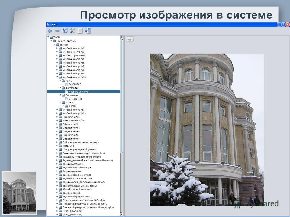 Просмотр изображения в системе