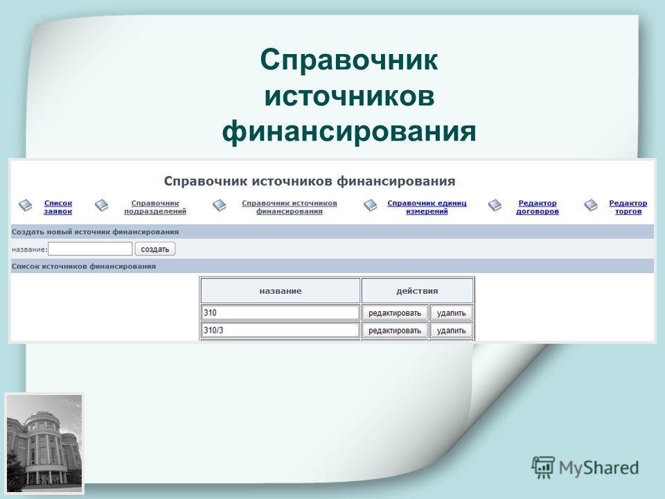 Справочник источников финансирования