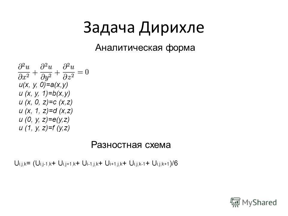 Задача Дирихле u(x, y, 0)=a(x,y) u (x, y, 1)=b(x,y) u (x, 0, z)=c (x,z) u (x, 1, z)=d (x,z) u (0, y, z)=e(y,z) u (1, y, z)=f (y,z) Аналитическая форма U i,j,k = (U i,j-1,k + U i,j+1,k + U i-1,j,k + U i+1,j,k + U i,j,k-1 + U i,j,k+1 )/6 Разностная схе
