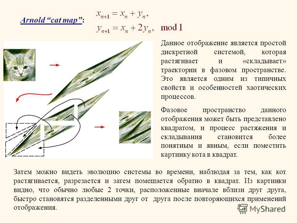 Arnold cat map: Данное отображение является простой дискретной системой, которая растягивает и «складывает» траектории в фазовом пространстве. Это является одним из типичных свойств и особенностей хаотических процессов. Фазовое пространство данного о