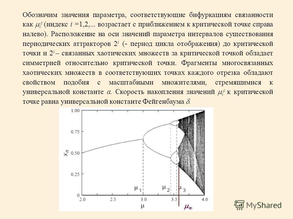 Обозначим значения параметра, соответствующие бифуркациям связанности как i c (индекс i =1,2,... возрастает с приближением к критической точке справа налево). Расположение на оси значений параметра интервалов существования периодических аттракторов 2