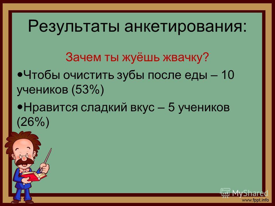 Результаты анкетирования: Зачем ты жуёшь жвачку? Чтобы очистить зубы после еды – 10 учеников (53%) Нравится сладкий вкус – 5 учеников (26%)